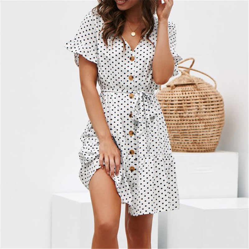 Женское летнее пляжное платье повседневное платье в горошек с коротким рукавом Boho мини вечерние платья Элегантное платье с v-образным вырезом