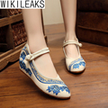 Women Casual Plus Size Old Beijing Mary Jane Flats Floral Pointed Toe Shoes Woman Embroidered Chinese Style Cloth Walking Shoes
