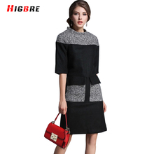 New Autumn Round Neck Woolen Dress 2016 Fashion Winter Dress Women Plus Size 2017 Runway Designer
