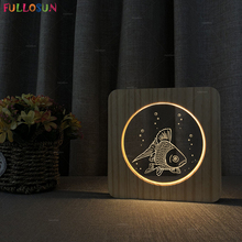FULLOSUN Fish Model LED 3D Acrylic Light Warm White Color Wooden Desk lamp  Decoration Lighting for Christmas Holiday Gift