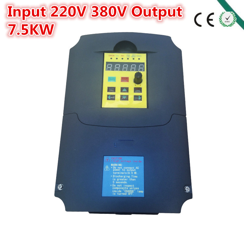 Inverter,7500 watt (7.5KW) , input 220V output 380V Variable Frequency Drive for 7KW Motor Speed Control, Drive Capacity: 14KVA inverter 1500 watt 1 5 kw 1000hz 220v input 75v output inverter vfd for 1 5kw motor speed control drive capacity 2 8kva