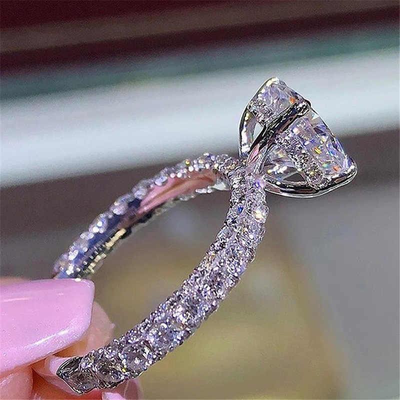جديد حار فلاش دائرية من الماس خاتم الأميرة كريستال من سواروفسكي موضة النساء المشاركة الزواج خاتم الماس عيد الأم