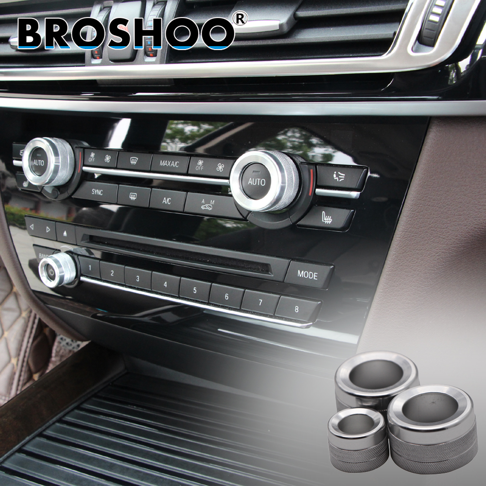 BROSHOO Car 3D Interior Sticker AC Button Decal For BMW X5 F15 X6 F16 2014 2015 2016 2017 Auto Car Styling Accessories 3PCS/LOT