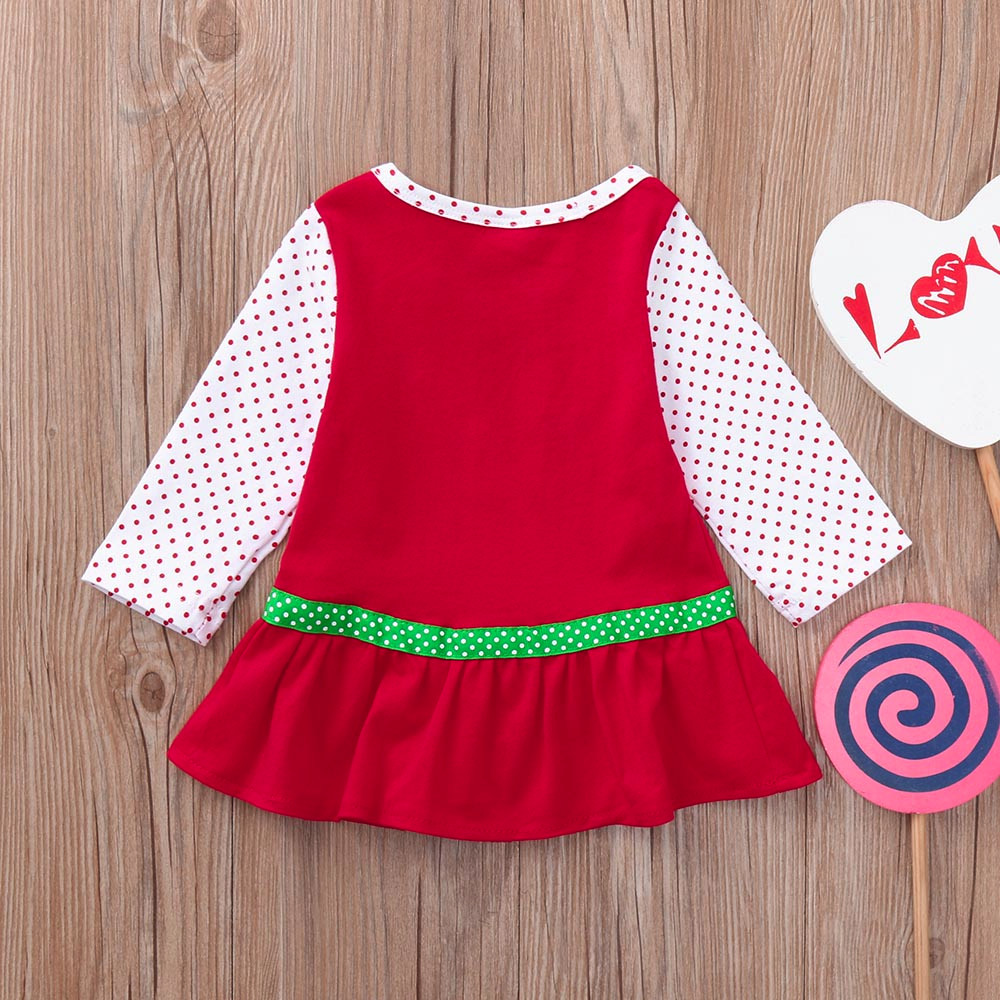 d9b88f82239a Newborn Infant Baby Girls Clothes Christmas Flare Bow Long Sleeve ...