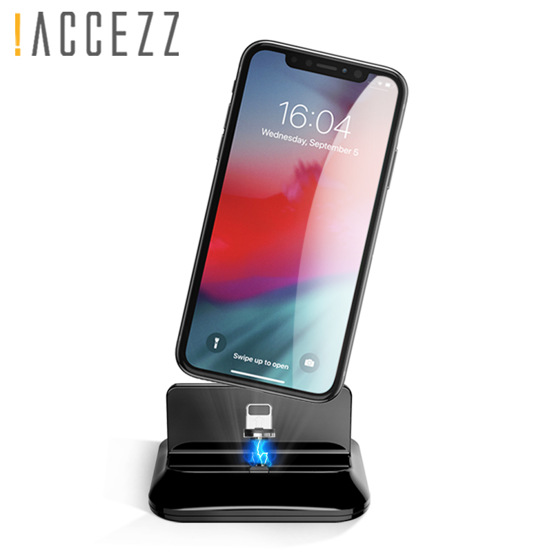 !ACCEZZ 2 In 1 Magnet Charger Holder Type-C Micro USB For Iphone 8 X 7 Plus XS MAX XR Desktop Fast Charging For Samsung S9 S8 S7