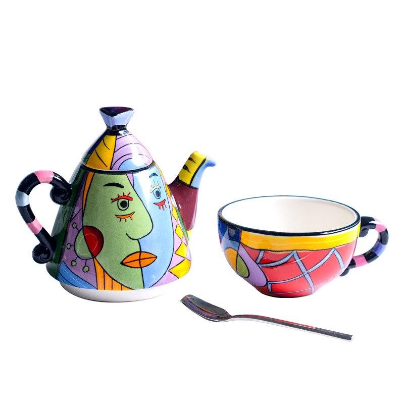 Ensemble de cérémonie de thé peint à la main de première qualité: théière, tasse et cuillère, thé de haute qualité, accessoires de décoration pour la maison - 2