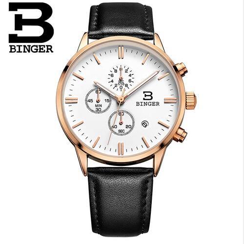 ФОТО Switzerland Binger New Masculino Chronograph Function Mens Watches Genuine Leather Luxury Mens Brand Military Wristwatches reloj