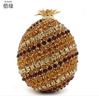 XIYUAN BRAND woman luxury pineapple full diamond crytal Banquet Day Clutches women Minaudiere purse for bride female evening bag for hot sale sale flap day clutches the 2017 straight priced luxury dinner bag double diamond phoenix full engraved with empty