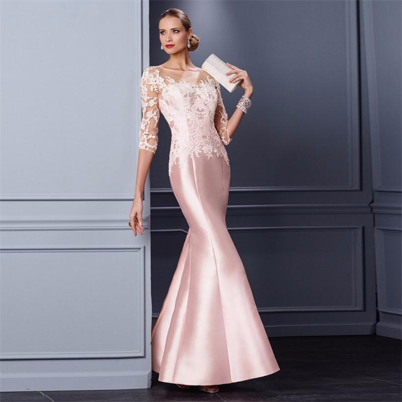 Elegant-Pink-Mother-of-the-Bride-Dress-Half-Sleeve-Wedding-Guest-Outfit-vestidos-de-madre-de