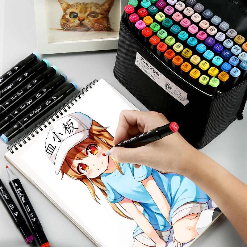 เครื่องหมายปากกาชุดแปรงอะนิเมะนักเรียน 30/40/60 สีคู่สีผิวมันปากกาปากกา full ชุด 168 สีอุปกรณ์ศิลปะ