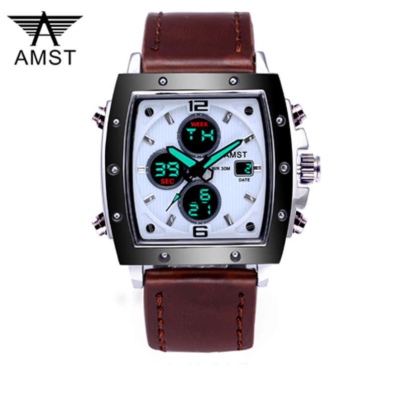 Fashion Amst Mens Watches Rectangle Militray Sport Quartz Dual Display Men Watch Waterproof Male Wristwatches Relogio Masculino