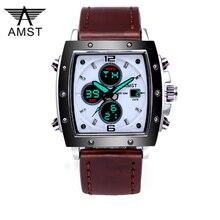 Mode Amst Herren Uhren Rechteck Militray Sport Quarz Dual Display Männer Uhr Wasserdicht Männlichen Armbanduhren Relogio Masculino