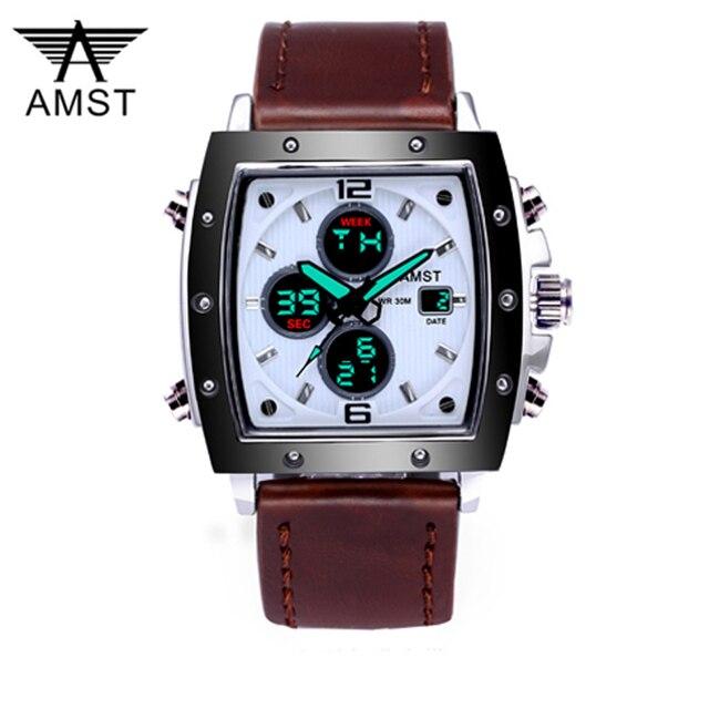 ファッション amst メンズ腕時計長方形 militray スポーツクォーツデュアルディスプレイ男性腕時計防水男性腕時計レロジオ masculino