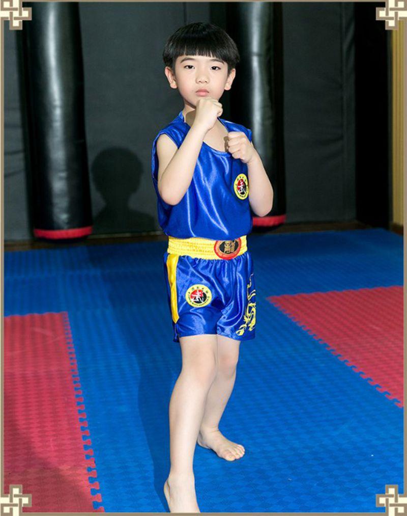 Enfants hommes Kick boxe uniformes Tank + Shorts MMA Muay Thai boxe costumes homme Sanda Kungfu Wushu costumes enfants boxe Wushu vêtements