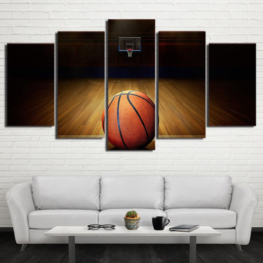 5 Piece ball print canvas Basketball sport painting Wall Pictures for living room Modular Painting Framed Home Decor