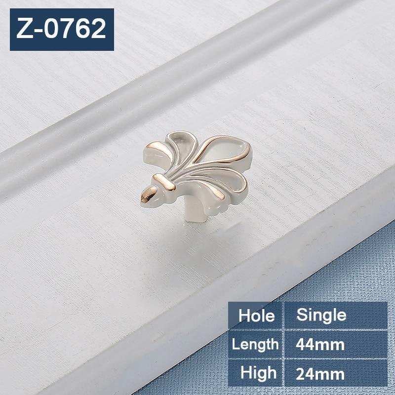 Rural  style Zinc Alloy  flower handles for furniture door cabinet pull handle cupboard door knob  drawer white handles