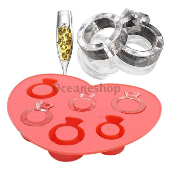 Ice Tray Diamond Love Ring Ice Cube Style Freeze Ice Mold Ice Maker Mould ...