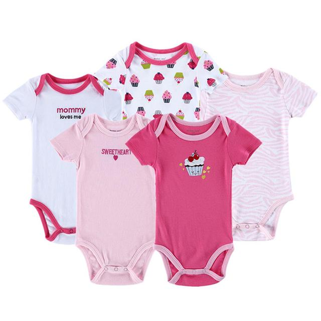 5pcs Ice Cream Heart Word Cute Outfits For Baby Girl Clothes Kids