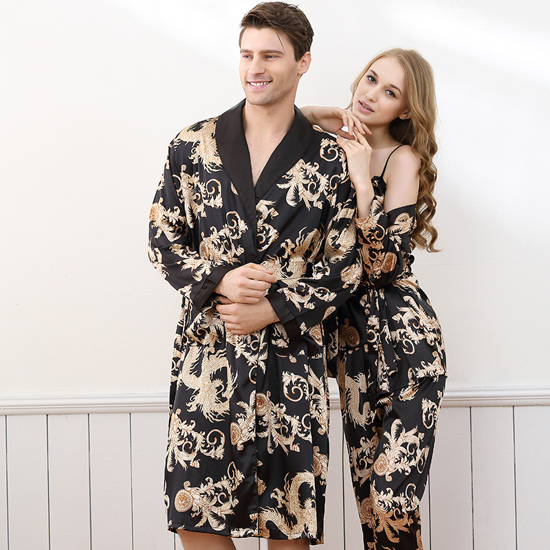Luxury Summer Satin Silk Men's Robe Dragon Print Long-Sleeve Lovers Bathrobes Kimono V-Neck Silk Sexy Sleepwear Womens Robe Set