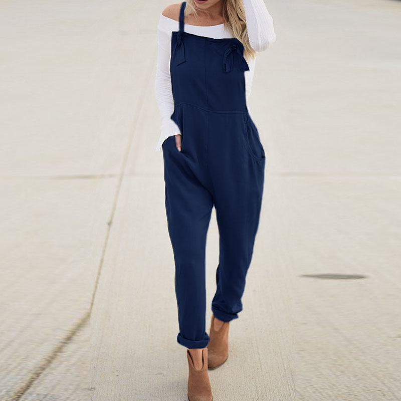 2018 Summer ZANZEA Women Strappy Solid Pockets Long Pencil Pants   Jumpsuits   Casual Work Rompers Dungarees Bib Overalls Plus Size