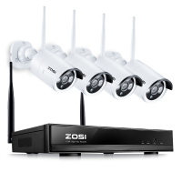 ZOSI Plug Play Wireless 4CH CCTV Camera System P2P Wireless NVR IP Camera 960P Outdoor Bullet