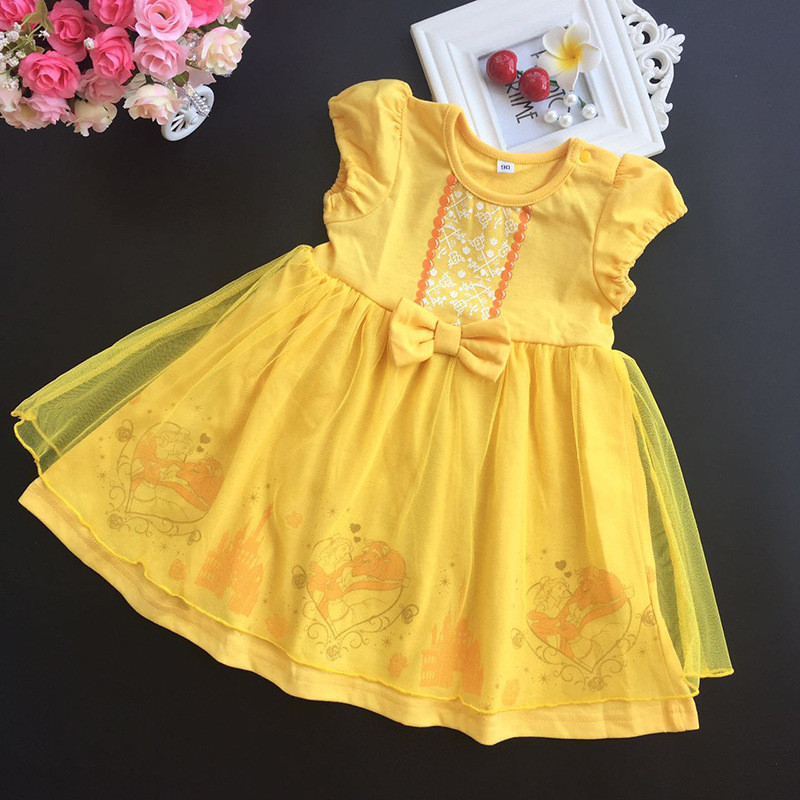 Masquerade Belle Princess Tutu Dress 2-6T Baby Girl Fancy Party Halloween Costumes Beauty Beast Cosplay Dress Yellow Ball Gown 4pcs gothic halloween artificial devil vampire teeth cosplay prop for fancy ball party show