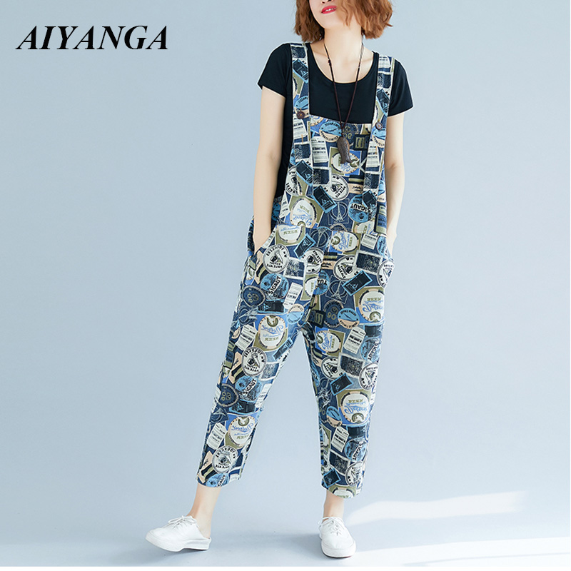 New personality Fashion Print Denim Overalls Women strap Trousers Casual   Jeans   Plus Size Loose Pants For Woman 2018 Autumn