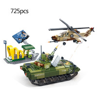725pcs Defend City Series World War 2 WW2 Police SWAT Helicopter Tank Building Blocks Figures Army Bricks Toys For Children