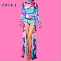 Female Singer Nightclub Crystals Costume Leotard Cape Women Fashion Rhinestones Bodysuit Long Coat Colorful Outfit