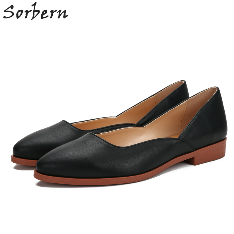 Sorben Black Flat Real Leather Slip On Shoes For Women Shoes 2018 Spring Women Flat Shoes Loafers Women Pointed Toe Flats odetina 2017 new women pointed metal toe loafers women ballerina flats black ladies slip on flats plus size spring casual shoes