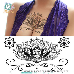 Waterproof Temporary Tattoo sticker large size black lotus on waist breast back large size women's Water Transfer fake tatto