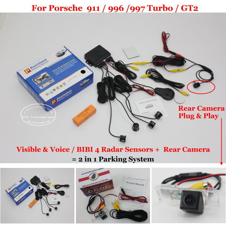 ФОТО Car Parking Sensors + Rear View Camera = 2 in 1 Visual / BIBI Alarm Parking System For Porsche  911 996 997 Turbo / GT2