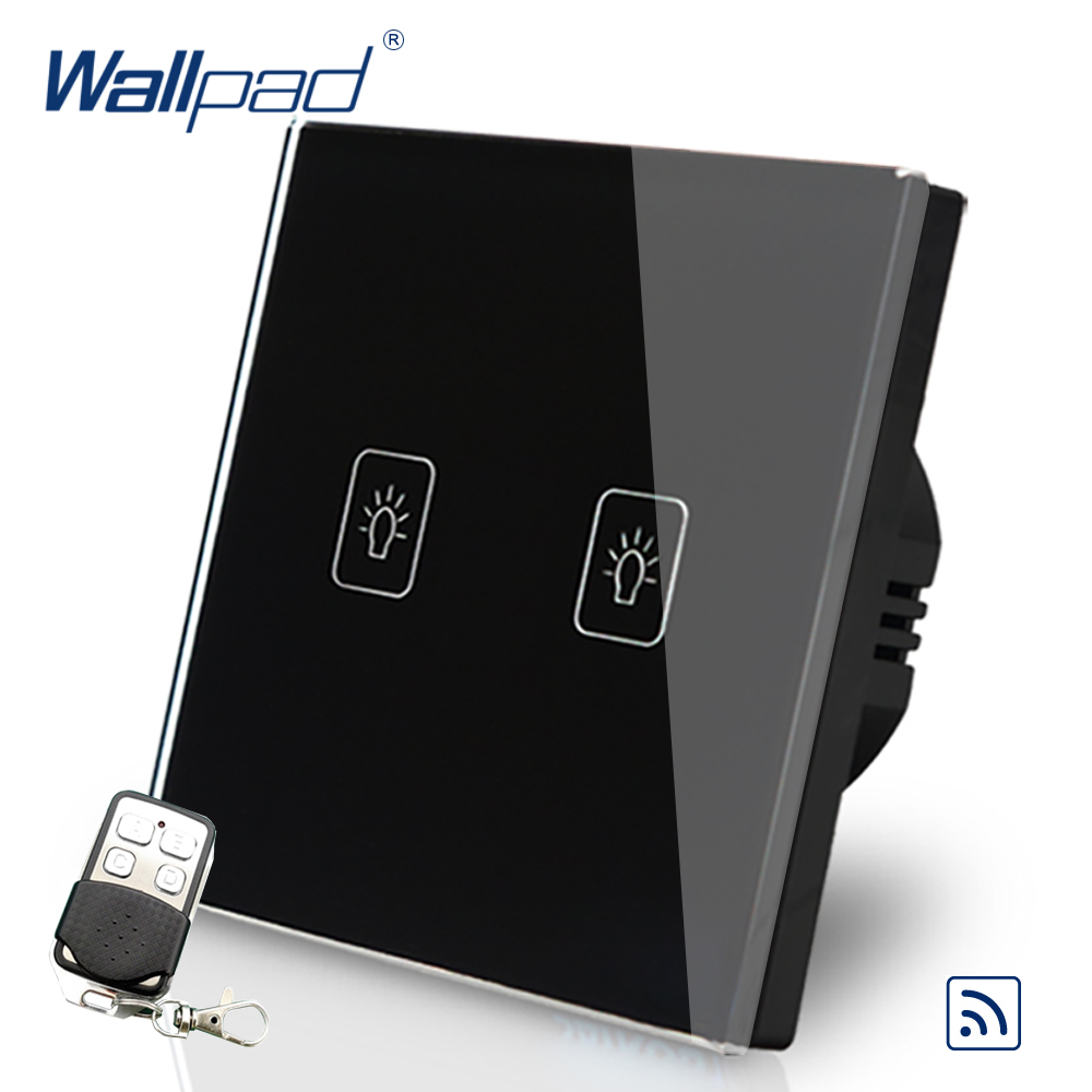 2 Gang 2 Way Remote Switch Eu UK 110V-240V Wallpad Black Glass LED EU 2 Gang 2 Way Touch Control Switch with Remote Control k1rf ltech one way touch switch panel ac200 240v input can work with vk remote page 2