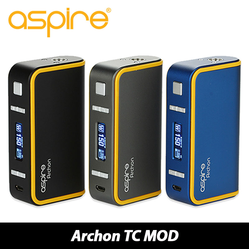 Original 150W Aspire Archon TC Box MOD Vape Temp Control MOD Upgradable Firmware Powered by 2x 18650 Batttery without Battery original smoant charon 218w tc box mod firmware upgradable 218w vape mod powered by dual 18650 batteries with three memory mode