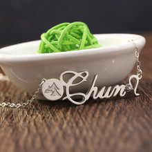 New Arrival Engraving Hill on Mini Disc Customized Name Necklace with Clear Crystone Decorated Nameplate Lucky Jewelry