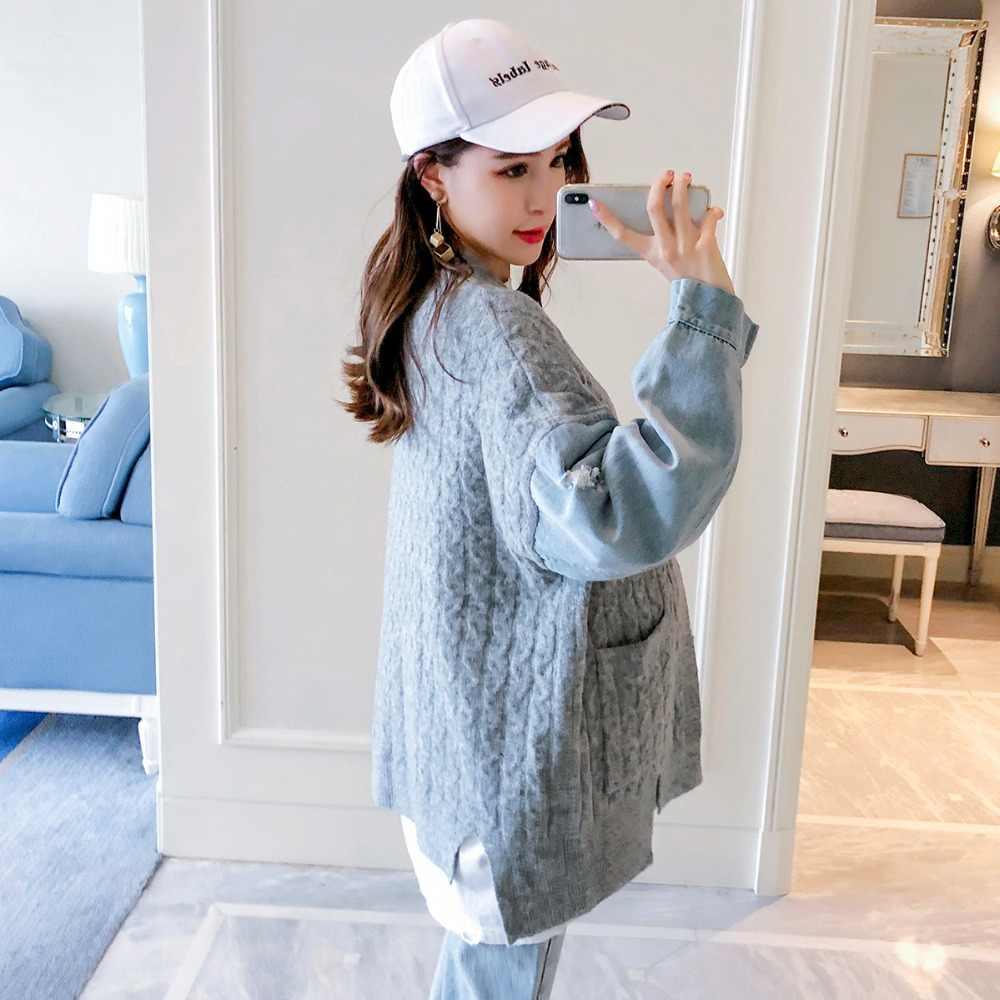 Одежда для беременных женщин куртка 2018 Новая мода Большой размер кардиган свитер сшитая джинсовая куртка платье для беременных