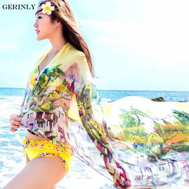 Scarves Pareo Sexy Women's Chiffon Sarongs Summer Bikini Scarf Swimsuit Dress Beach Cover Up Tunic Wraps Ladies Shawls 150*180cm 4