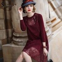 2016 Women Spring Autumn Vintage Flower Print Elegant Fashion Silk Dress Casual Loose Design Dresses Sweet
