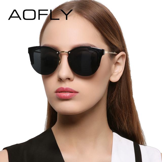Aofly cat eye óculos de sol das mulheres marca de luxo designer de óculos de sol da moda do vintage espelhos óculos óculos de sol luneta de soleil femme af7916