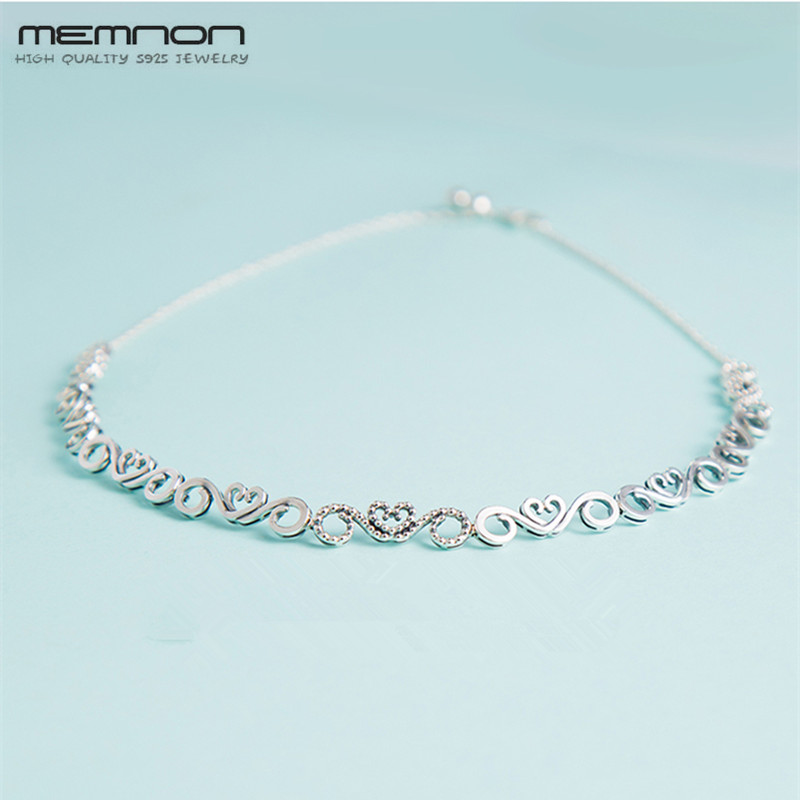 Memnon silver S925 heart Swirls Choker Necklace 925 sterling silver jewelry torques necklaces for women fashion fine jewelry kiss me charming silver color rhinestone snowflake necklaces for women 2017 choker necklace fashion jewelry