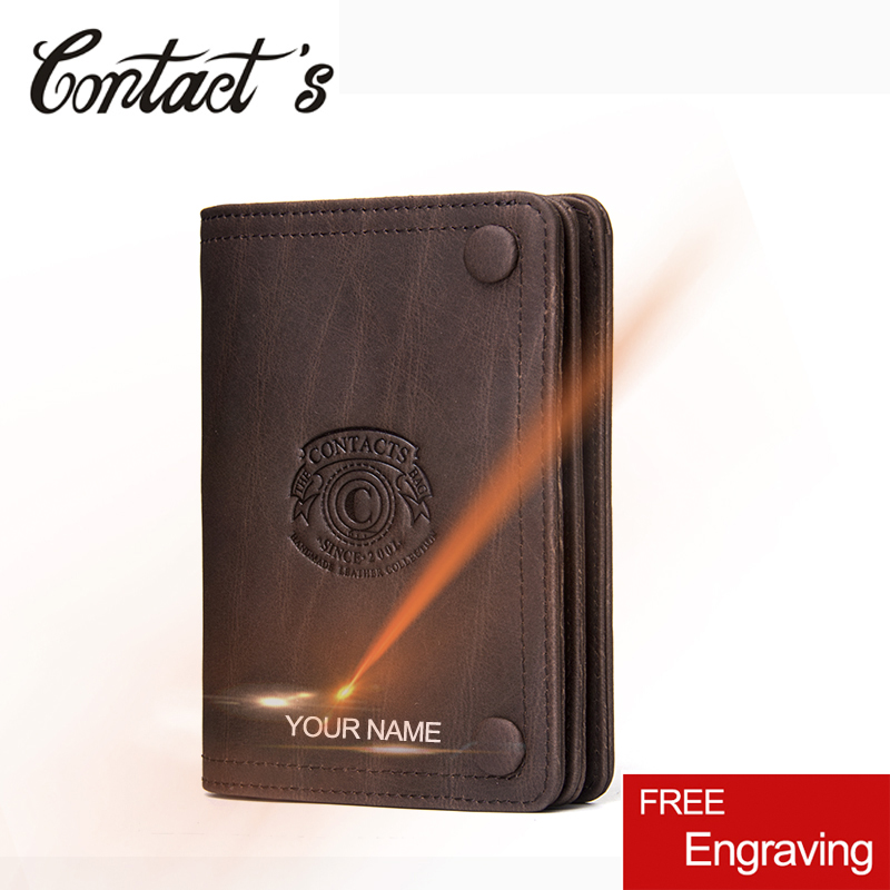 Vintage Brand Men's Wallet Crazy Horse Leather Silm Bifold Wallets Short Male Money Bag Coin Purse High Quality Card Holder 2018