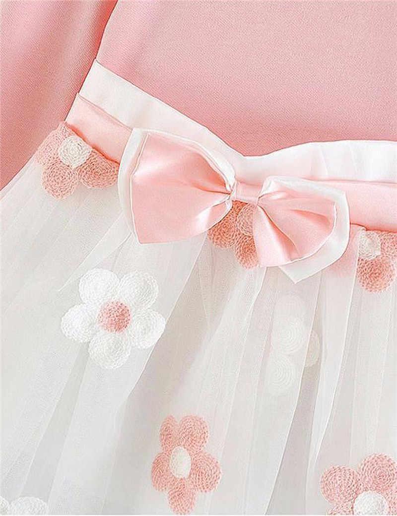 Одежда из хлопка для новорожденных детей от 0 до 2 лет осенне-зимние платья с длинными рукавами и цветочным рисунком детское рождественское праздничное платье
