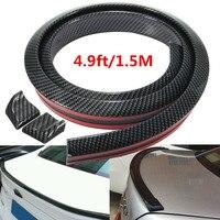 BBQ FUKA Universal Carbon Fiber Look Auto Car Rear Roof Trunk Spoiler Wing Lip Sticker 4