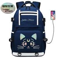 Sailor Moon Luna Cat Women Cute Backpack Canvas School Bags for Teenage Girls Kawaii Bookbag Laptop Backpack Travel Bagpack