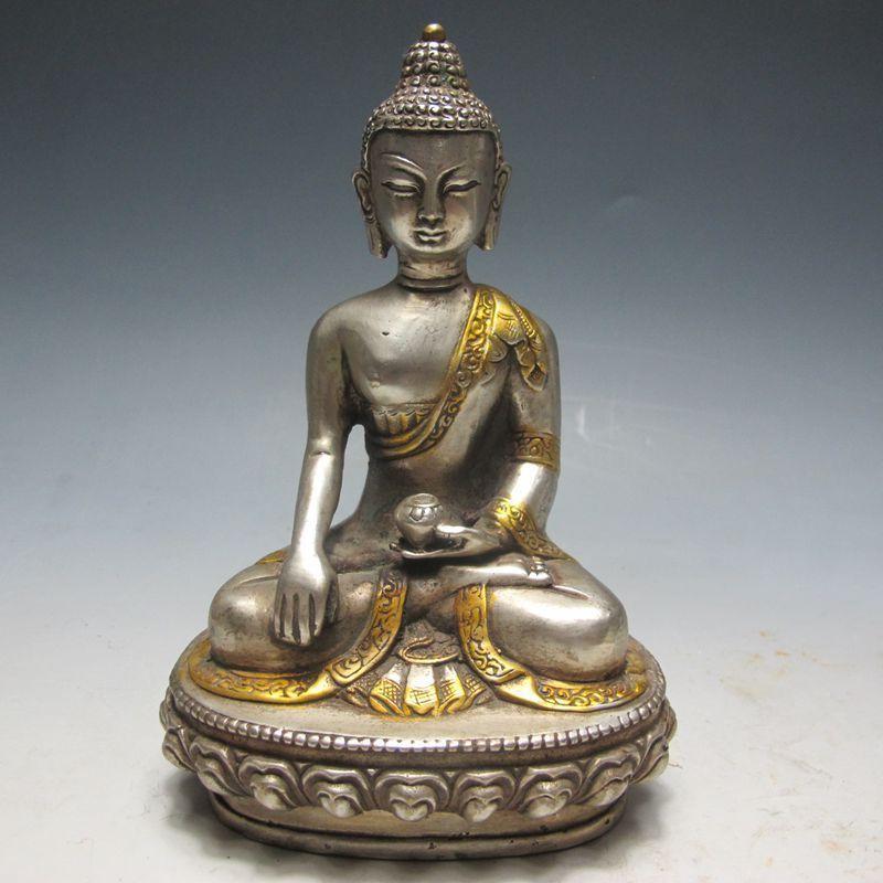 Chinese Bronze Gilt Tibetan Buddhist StatueChinese Bronze Gilt Tibetan Buddhist Statue
