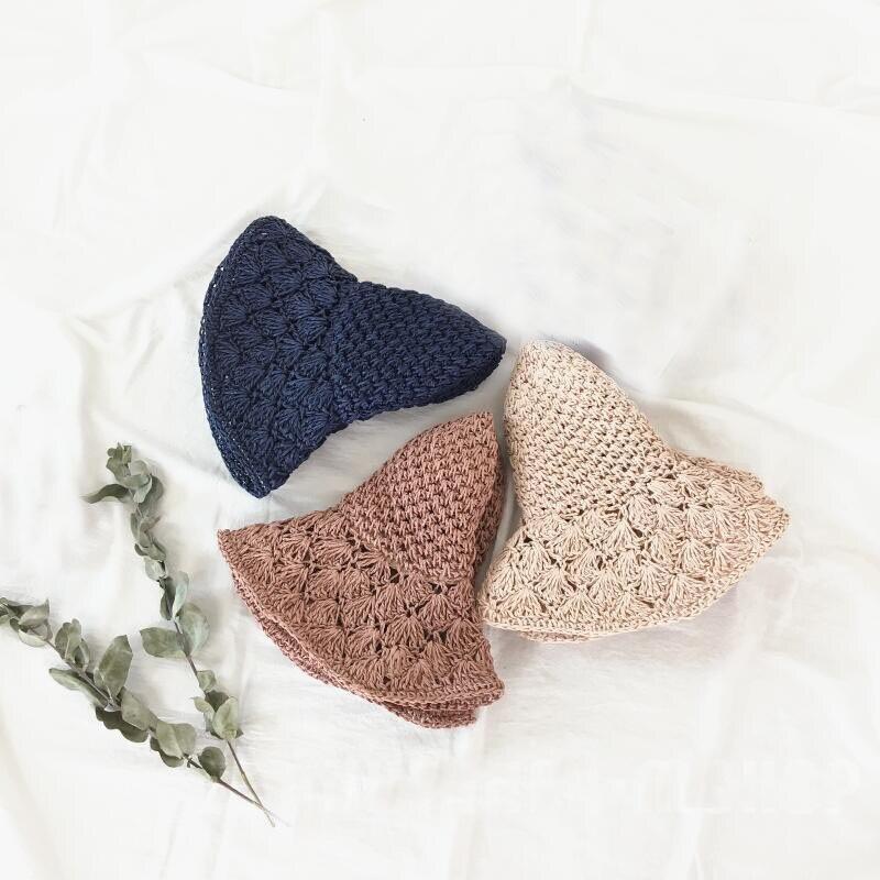2018 mujeres sombrero de paja hecho a mano del ganchillo señoras ...