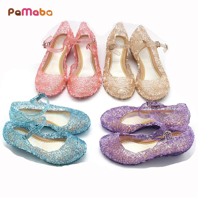 PaMaBa 5 Colors Girls Birthday Princess Dress Up Sandals Kids Sofia Rapunzel Cinderella Cosplay Crystal Shoes Party Flat Shoes