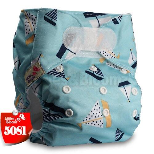 [Littles&Bloomz] Детские Моющиеся Многоразовые, настоящая стандартная ткань, застежка-липучка, карман для подгузников, пеленки, обертывание, подходит для рождения в горшке - Цвет: 5081