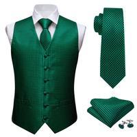Mens Classic Green Solid Jacquard Folral Silk Waistcoat Vests Handkerchief Tie Vest Suit Pocket Square Set Barry.Wang Desingers