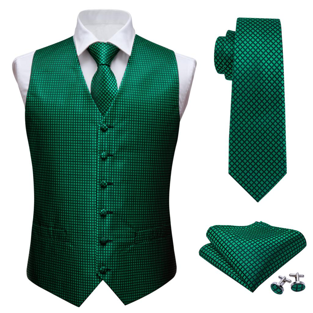 Mens Classic Green Solid Jacquard Folral Silk Waistcoat Vests Handkerchief Tie Vest Suit Pocket Square Set Barry.Wang Desingers